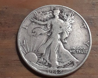 World War 2  Era 1942 Walking Liberty Siver Half Dollar  90 percent SILVER
