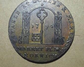 1794 England Norwich 1/2 Penny Token