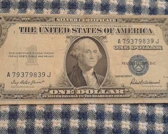 1935-F 1 dollar Silver Certificate blue seal bill Block (AJ)