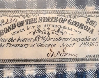 1861 Bond of the State of Georgia Authentic Civil War Bond Note #234 Interest Payment Coupon due Nov. 1, 1863