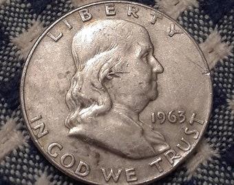 1963-D  Ben Franklin Half Dollar 90 percent SILVER