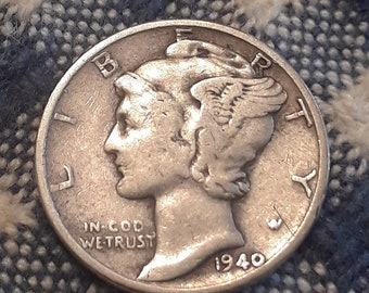 1940 War World II  Mercury Dime 90% Silver (F)