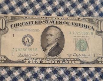 1950B 10 Dollar Federal Reserve Note Light Green Seal Boston  Block (AB)
