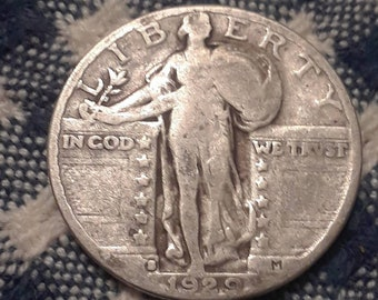 1929-S  Standing Liberty  90% Silver US Quarter Depression Era