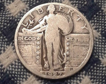 1927 Standing Liberty  90% Silver US Quarter Rolling Twenties