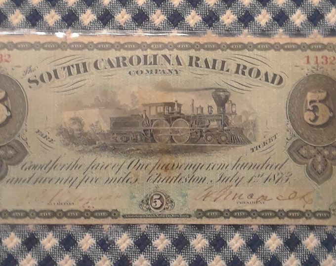 Featured listing image: 1873 5 Dollar South Carolina Railroad Co. Passenger Fare Ticket With Train