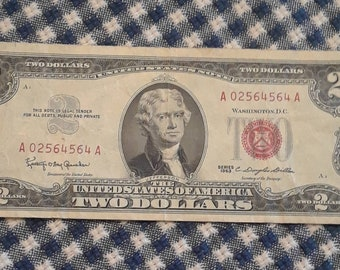 1963 2 dollar red seal bill Block (AA) Low plate numbers