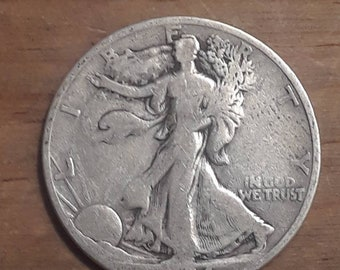Depression Era 1934 S Walking Liberty Siver Half Dollar  90 percent SILVER