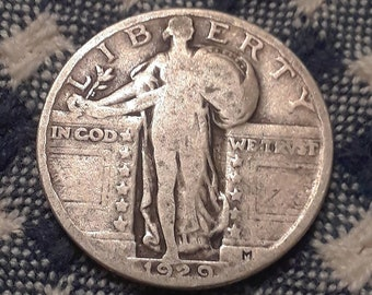 1929  Standing Liberty  90% Silver US Quarter Depression Era