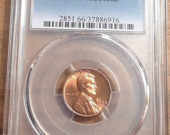 1958 D Lincoln Wheat Penny graded MS66 Red by PCGS
