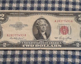 1953 2 dollar red seal bill Block (AA)