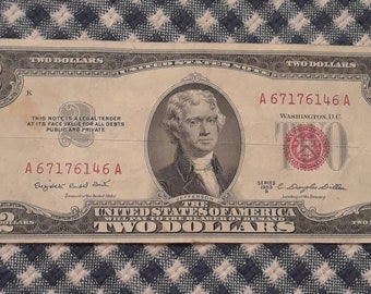 1953-B 2 dollar red seal bill