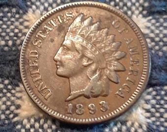1893 Indian Head Penny Full Liberty VF