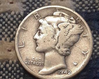1942  War World II  Mercury Dime 90% Silver