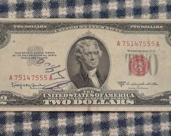 1953-C 2 dollar red seal bill FR#1512
