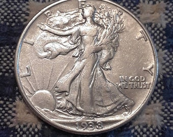 Depression Era BU 1938 Walking Liberty Siver Half Dollar