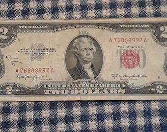 1953-C 2 dollar red seal bill FR#1512