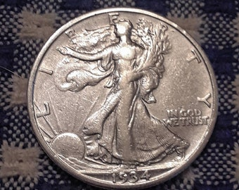 Depression Era BU 1934-S Walking Liberty Siver Half Dollar Key Date
