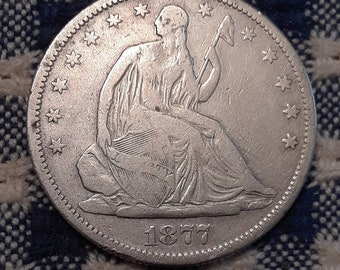 1877 S Liberty Seated  Half Dollar