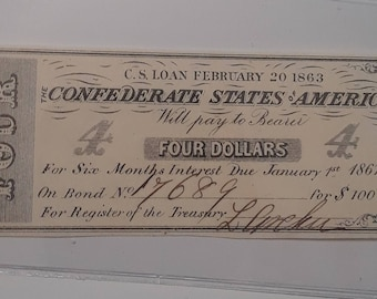 Confederate States of America Authentic Civil War Bond Note #17689 Interest Payment Coupons