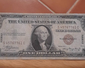 1935-A WW2 Hawaii Emergency Issue Silver Certificate Brown Seal  (SC) Block Fine
