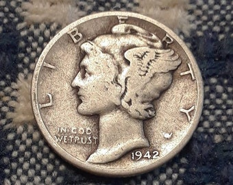 1942-D  War World II  Mercury Dime 90% Silver