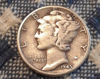 1945 War World II  Mercury Dime 90% Silver (F)