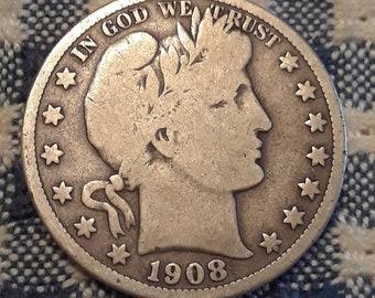 1908-D Barber Half Dollar 90% Silver