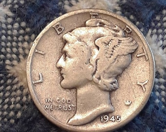 1945-D War World II  Mercury Dime 90% Silver (F)