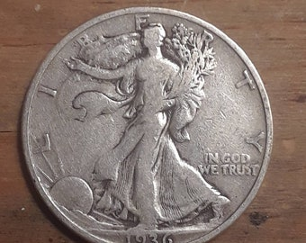 Depression Era 1936 Walking Liberty Siver Half Dollar  90 percent SILVER