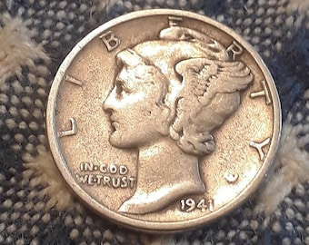 1941 War World II  Mercury Dime 90% Silver (F)