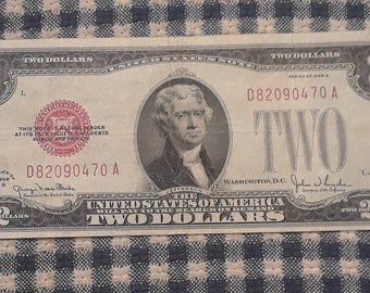 1928-G Red Seal 2 dollars United States Note Legal Tender Block (DA)  FV