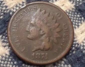 1874 Indian Head Penny weak struck 4