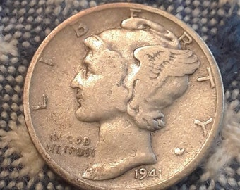 1941-S War World II  Mercury Dime 90% Silver