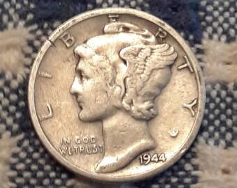 1944-D  War World II  Mercury Dime 90% Silver