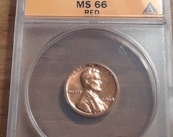 1968 Lincoln Memorial Penny Graded by ANACS MS 66 Red Cert # 6247080