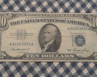 1953 10  dollar Silver Certificate blue seal bill FR 1706 Mint Error Off Center Reverse and Obverse.