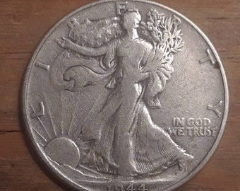 World War 2  Era 1944 Walking Liberty Siver Half Dollar  90 percent SILVER