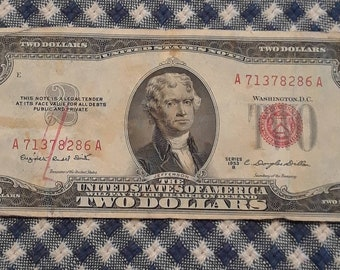 1953-B 2 dollar red seal bill