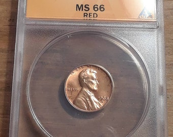 1968 D Lincoln Memorial Penny Graded by ANACS MS 66 Red Cert # 6247082
