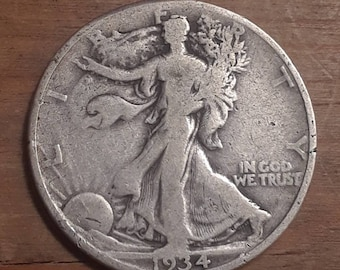 Depression Era 1934 Walking Liberty Siver Half Dollar  90 percent SILVER