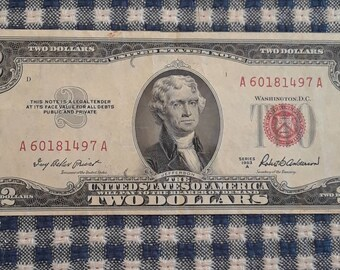 1953-A  Crisp 2 Dollar Red Seal Bill VF