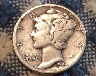 1943 War World II  Mercury Dime 90% Silver (F)
