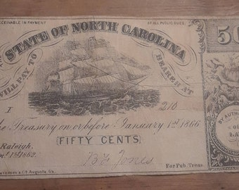 Civil War Era Raleigh North Carolina 50 cents Sept 1, 1862 Grade Fine