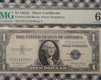 1935 E  1 dollar Silver Certificate (DI Block) blue seal bill Graded PMG 66EQP Gem Uncirculated