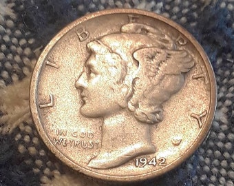 1942-S War World II  Mercury Dime 90% Silver (VF)