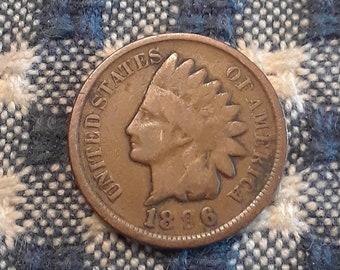 1896 Indian Head Penny Mint error light struck on 9