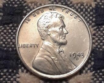 1943 D War World II Steel Lincoln Wheat Penny Brilliant Uncirculated