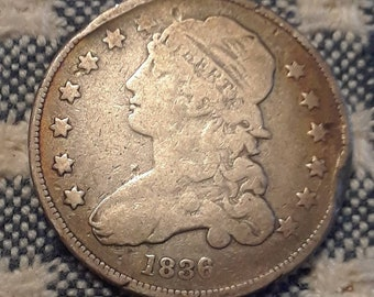 1836 Capped Bust Quarter Small No Motto Closed Collar Strike