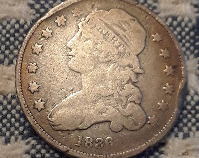 Featured listing image: 1836 Capped Bust Quarter Small No Motto Closed Collar Strike